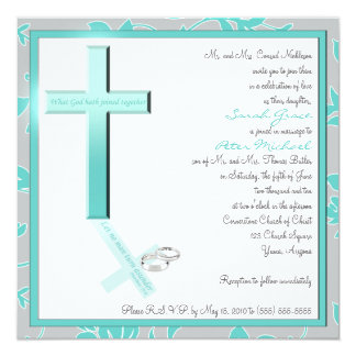 Christian Aqua and Gray Square Wedding Invitation
