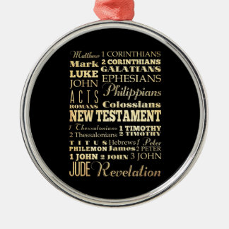 Christian Art - Books of the New Testament. Silver-Colored Round Decoration