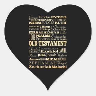 Christian Art - Books of the Old Testament. Heart Sticker