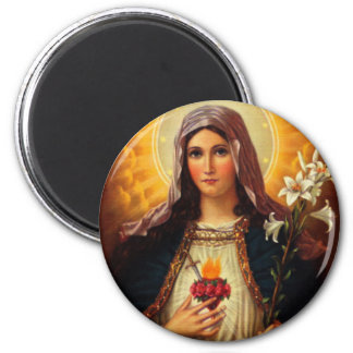 Christian Art of Sacred Heart of Jesus and Mary 6 Cm Round Magnet