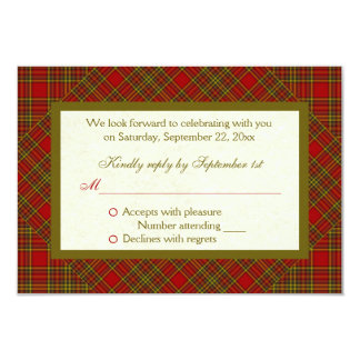 Christian Autumn Red Green Plaid RSVP Card 9 Cm X 13 Cm Invitation Card