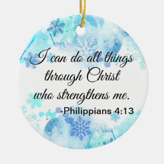 Christian Bible I Can Do All Things Quote Blue Christmas Ornament