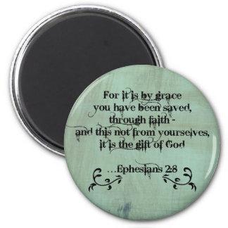 Christian Bible Verse Ephesians 2:8 6 Cm Round Magnet