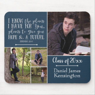 Christian Bible Verse Graduation Photo Collage Mouse Mat