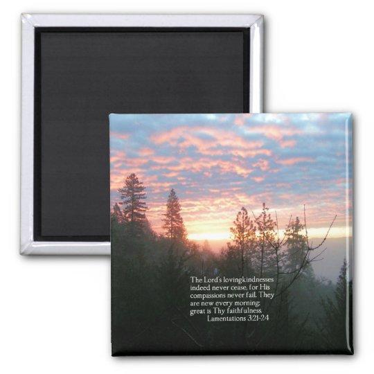 Christian Bible Verse Lake Landscape Creationarts Square Magnet