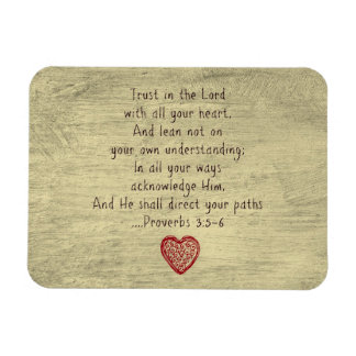 Christian Bible Verse Proverbs 3:5-6 Rectangular Photo Magnet