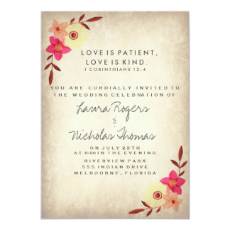 Bible verse wedding invitations announcements zazzle christian bible verse rustic country floral card stopboris Gallery