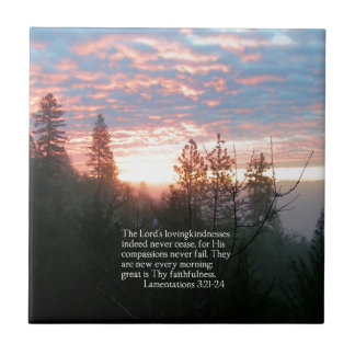 Christian Bible Verse Sunrise Landscape Tile