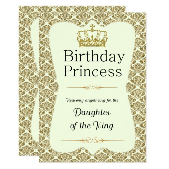Christian Birthday Princess Gold and Cream Damask Card