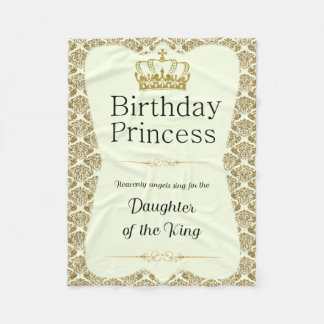 Christian Birthday Princess Gold and Cream Damask Fleece Blanket