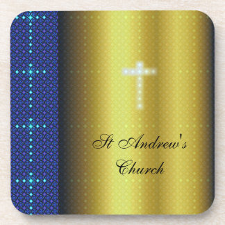 Christian Blue and Gold Coaster with Crosses