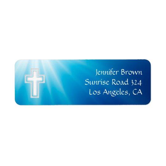 Christian | Blue Rays Return Address Label