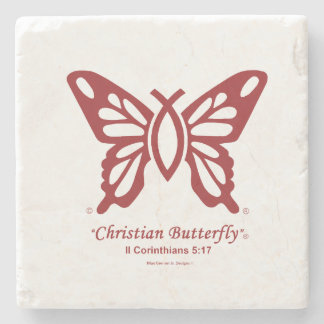 """Christian Butterfly"" Coaster Tile Cherry Red logo"