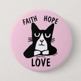 Christian Cat Lover buttons, FAITH HOPE LOVE 7.5 Cm Round Badge