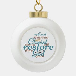 Christian Christ Will Restore Ceramic Ball Christmas Ornament
