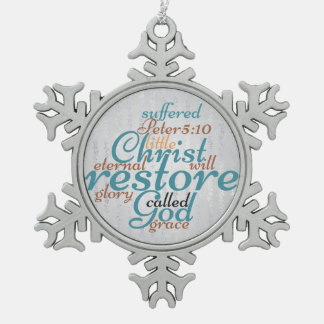 Christian Christ Will Restore on Silver Snowflake Pewter Christmas Ornament