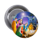 Christian Christmas card 6 Cm Round Badge