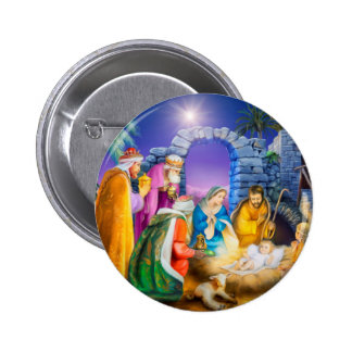 Christian Christmas card 6 Cm Round Badge