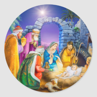Christian Christmas card Round Sticker
