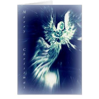 Christian Christmas card silver blue angel