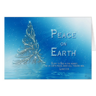 CHRISTIAN CHRISTMAS GREETING - BLUE - TREE - VERSE GREETING CARD