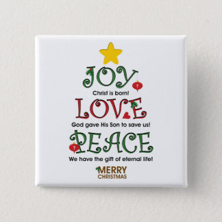 Christian Christmas Joy Love and Peace 15 Cm Square Badge