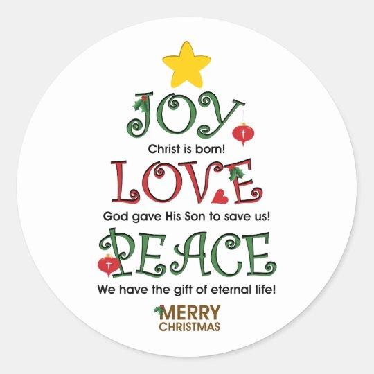 Christian Christmas Joy Love and Peace Classic Round