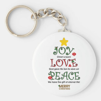 Christian Christmas Joy Love and Peace Key Ring