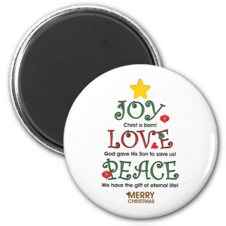 Christian Christmas Joy Love and Peace 6 Cm Round Magnet