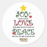 Christian Christmas Joy Love and Peace Round Sticker
