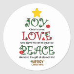Christian Christmas Joy Love and Peace Classic Round Sticker