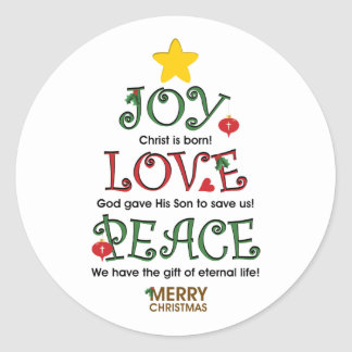 Christian Christmas Joy Love and Peace Stickers