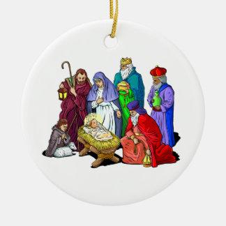 Christian Christmas Nativity Scene Holy Family Round Ceramic Decoration