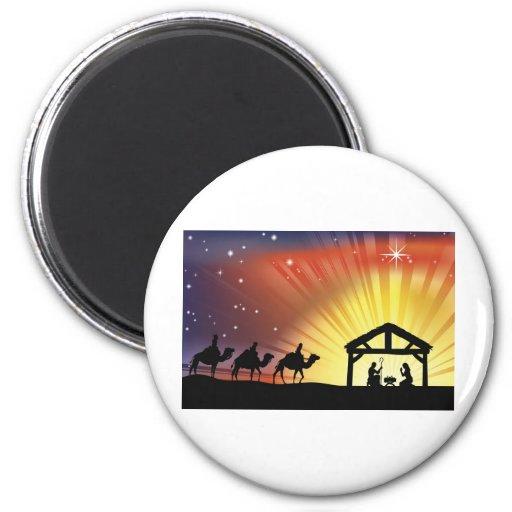 Christian Christmas Nativity Scene Fridge Magnet