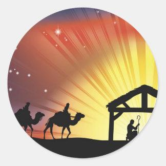 Christian Christmas Nativity Scene Round Stickers
