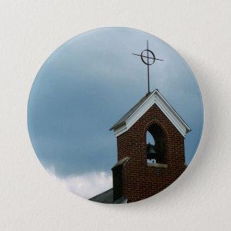 Christian Church Steeple Cross Photo Button