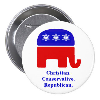 Christian. Conservative. Republican. 7.5 Cm Round Badge