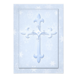 Christian Cool Blue Winter Wedding Invitation