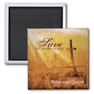 Christian country cross wedding save the date square magnet