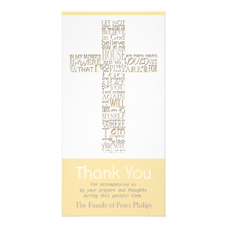 Christian Cross 11 John 14 Sympathy Thank You Card Photo Card Template