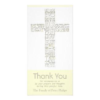 Christian Cross 12 John 14 Sympathy Thank You Card Custom Photo Card