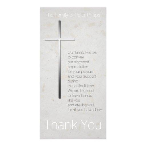 Christian Cross 3 - Sympathy Thank You Photo Cards Photo Greeting Card