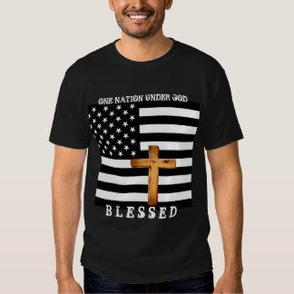 Christian Cross and American Flag - T-Shirt