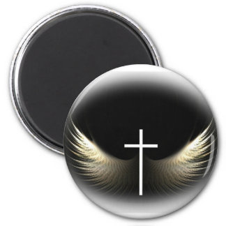 Christian Cross and Holy Spirit 6 Cm Round Magnet