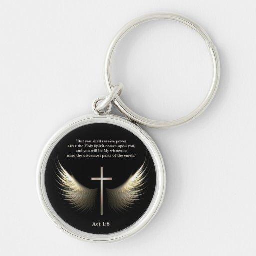 Christian Cross and Spirit Customizable Scripture Key Chain