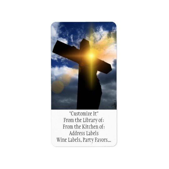 Christian Cross at Easter Sunrise Service Address Label