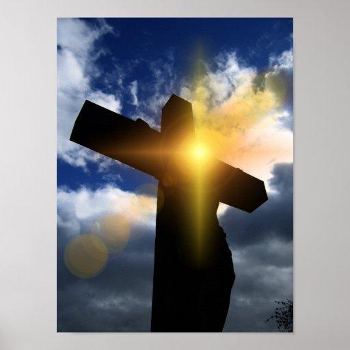Christian Cross at Easter Sunrise Service Poster
