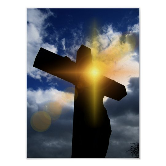 Christian Cross at Easter Sunrise Service Poster