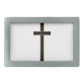 Christian cross rectangular belt buckle