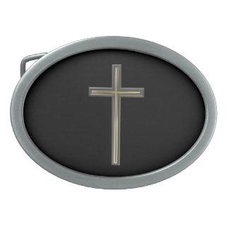 Christian cross belt buckle